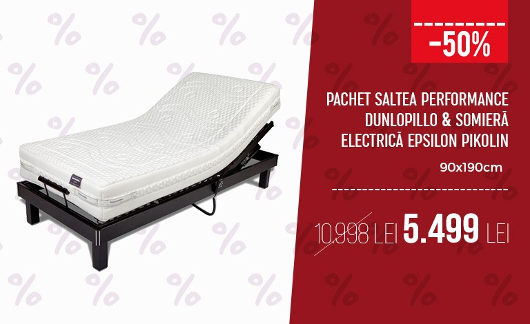 Pachet Saltea Performance Dunlopillo & Somiera Electrica Epsilon Pikolin 90x190cm